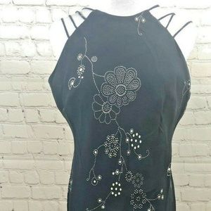 Evan Picone Dress Black White Floral Design Sz 10